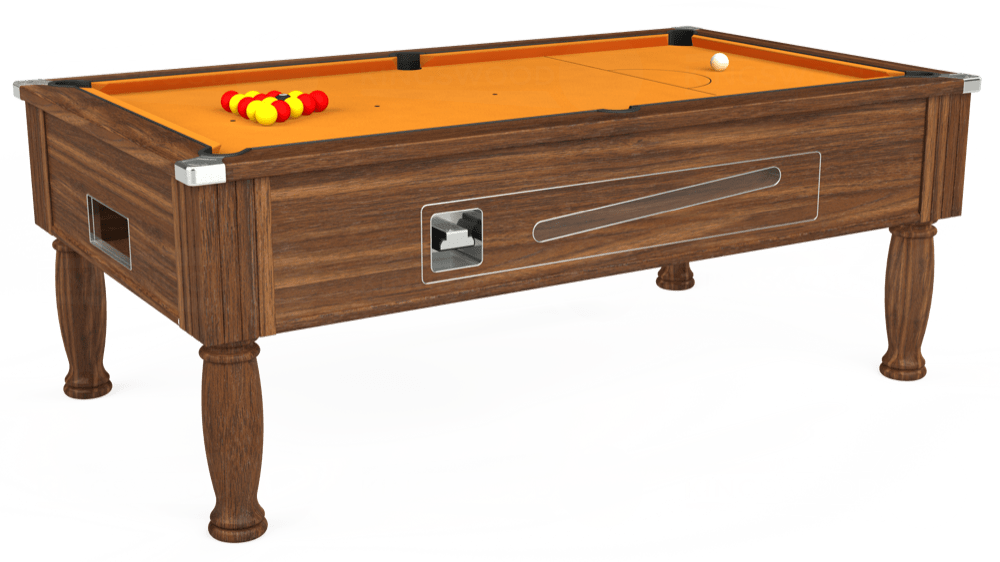 7ft Ascot Coin Operated Pool Table in Dark Walnut with Hainsworth Smart Gold cloth delivered and installed - £1,370.00