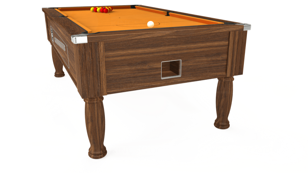 7ft Ascot Coin Operated Pool Table in Dark Walnut with Hainsworth Smart Gold cloth delivered and installed - £1,270.00