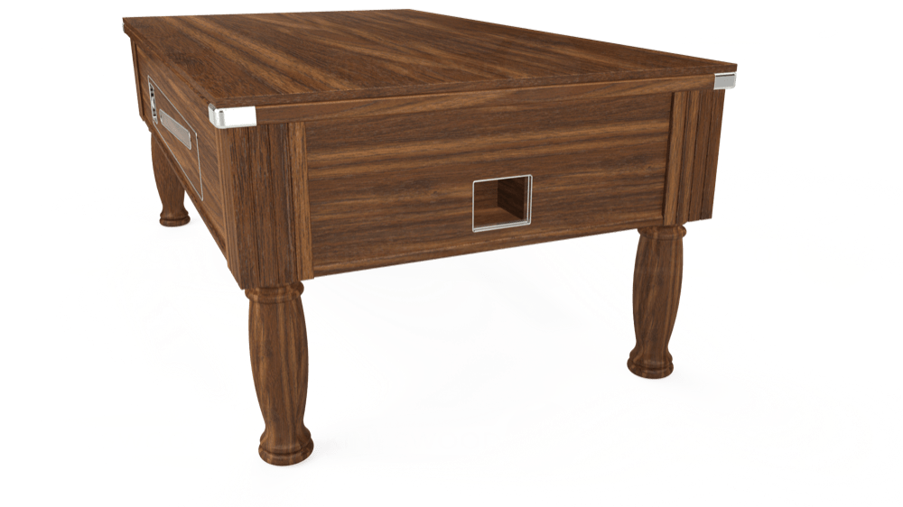 7ft Ascot Coin Operated Pool Table in Dark Walnut with Hainsworth Smart Maroon cloth delivered and installed - £1,300.00