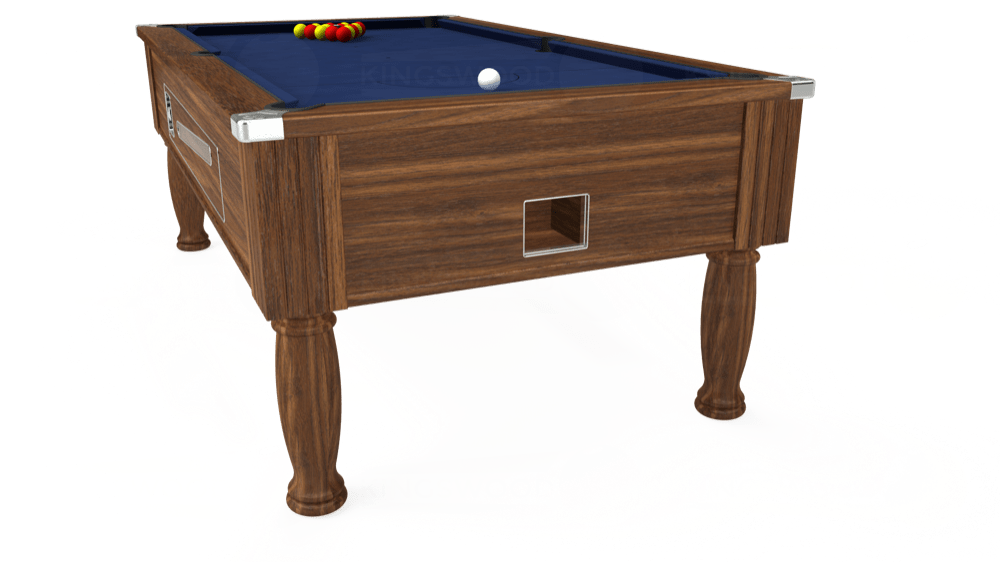 7ft Ascot Coin Operated Pool Table in Dark Walnut with Hainsworth Smart Royal Navy cloth delivered and installed - £1,370.00
