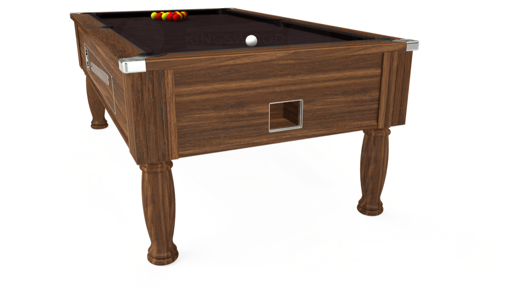 7ft Ascot Coin Operated Pool Table in Dark Walnut with Hainsworth Smart Nutmeg cloth delivered and installed - £1,370.00