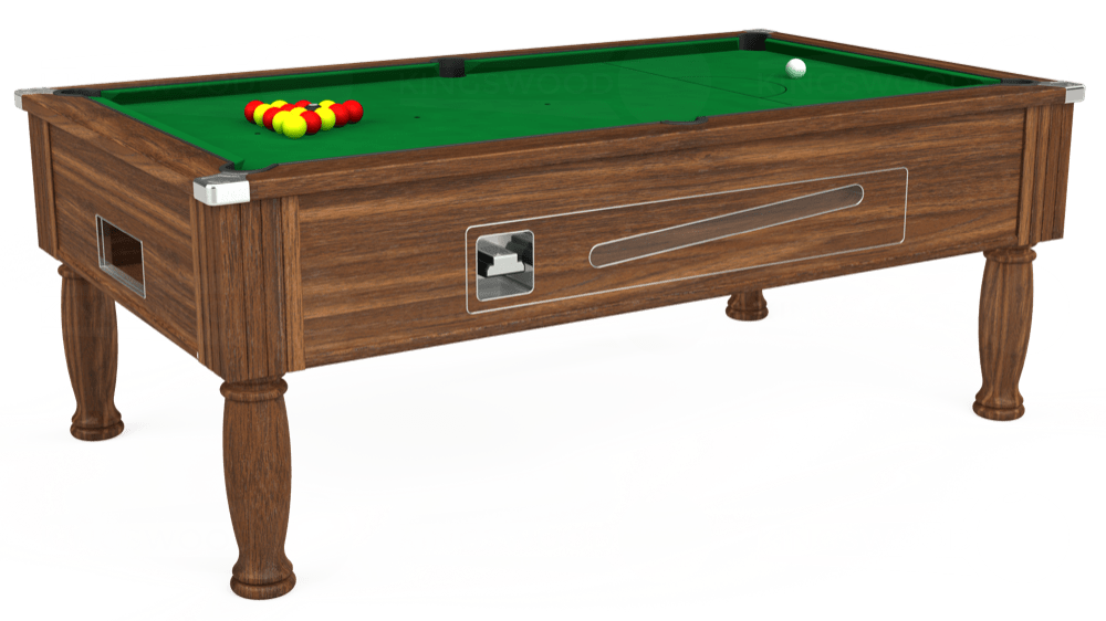 7ft Ascot Coin Operated Pool Table in Dark Walnut with Hainsworth Smart Olive cloth delivered and installed - £1,300.00