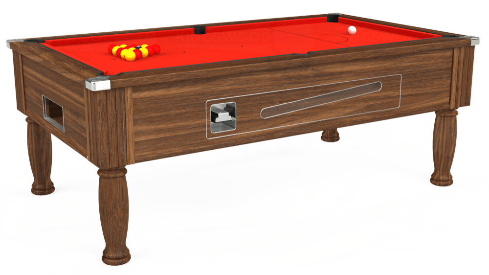 7ft Ascot Coin Operated Pool Table in Dark Walnut with Hainsworth Smart Orange cloth delivered and installed - £1,225.00