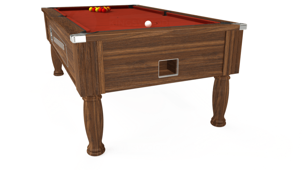 7ft Ascot Coin Operated Pool Table in Dark Walnut with Hainsworth Smart Paprika cloth delivered and installed - £1,370.00