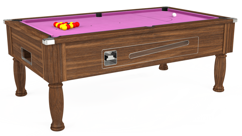 7ft Ascot Coin Operated Pool Table in Dark Walnut with Hainsworth Smart Pink cloth delivered and installed - £1,270.00