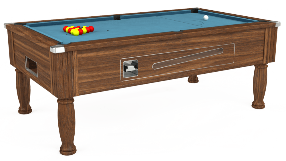 7ft Ascot Coin Operated Pool Table in Dark Walnut with Hainsworth Smart Powder Blue cloth delivered and installed - £1,370.00