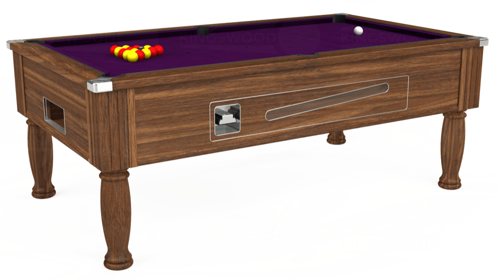 7ft Ascot Coin Operated Pool Table in Dark Walnut with Hainsworth Smart Purple cloth delivered and installed - £1,270.00
