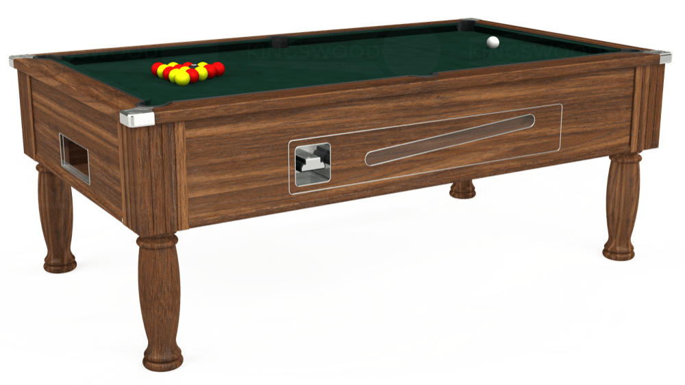7ft Ascot Coin Operated Pool Table in Dark Walnut with Hainsworth Smart Ranger Green cloth delivered and installed - £1,270.00