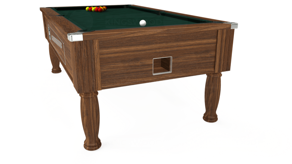 7ft Ascot Coin Operated Pool Table in Dark Walnut with Hainsworth Smart Ranger Green cloth delivered and installed - £1,225.00