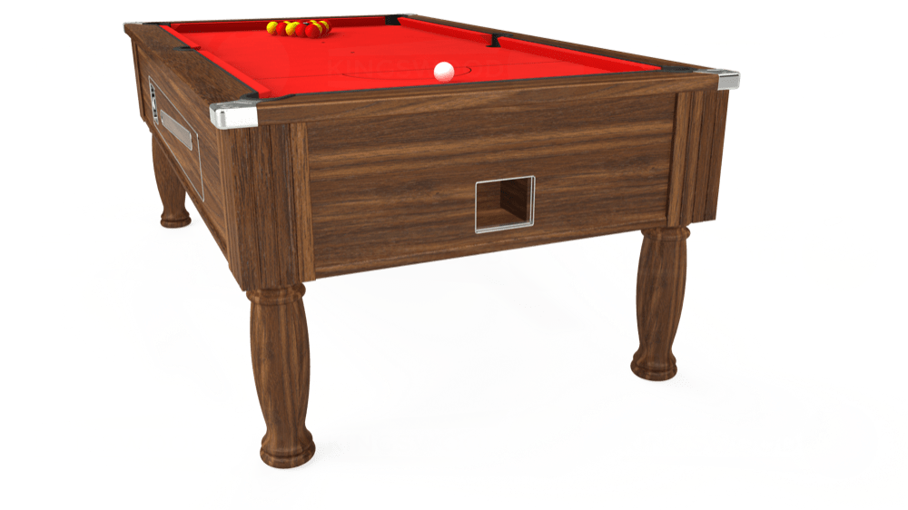 7ft Ascot Coin Operated Pool Table in Dark Walnut with Hainsworth Smart Red cloth delivered and installed - £1,225.00
