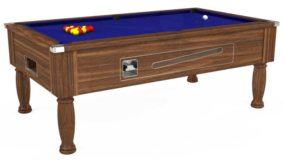 7ft Ascot Coin Operated Pool Table in Dark Walnut with Hainsworth Smart Royal Blue cloth delivered and installed - £1,225.00