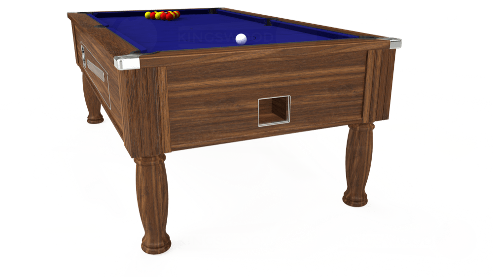 7ft Ascot Coin Operated Pool Table in Dark Walnut with Hainsworth Smart Royal Blue cloth delivered and installed - £1,370.00