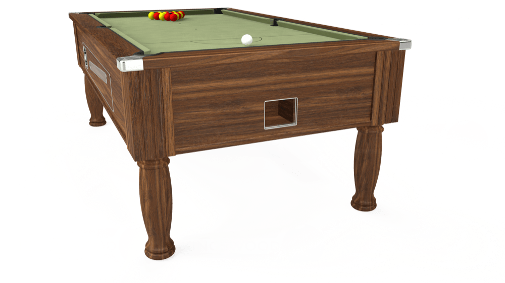 7ft Ascot Coin Operated Pool Table in Dark Walnut with Hainsworth Smart Sage cloth delivered and installed - £1,370.00