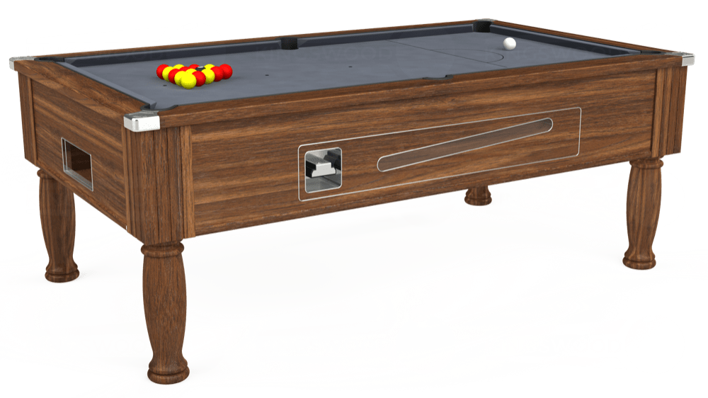 7ft Ascot Coin Operated Pool Table in Dark Walnut with Hainsworth Smart Silver cloth delivered and installed - £1,300.00