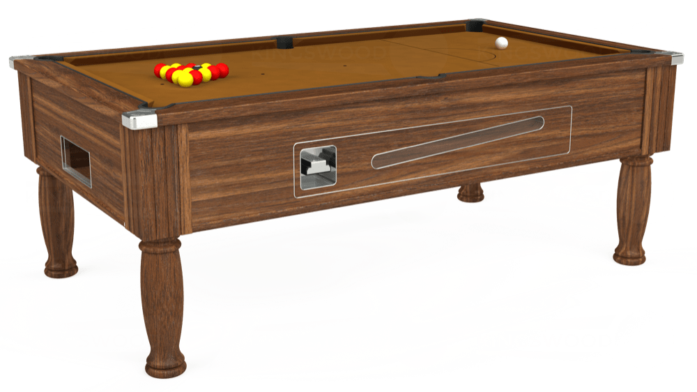 7ft Ascot Coin Operated Pool Table in Dark Walnut with Hainsworth Smart Tan cloth delivered and installed - £1,270.00