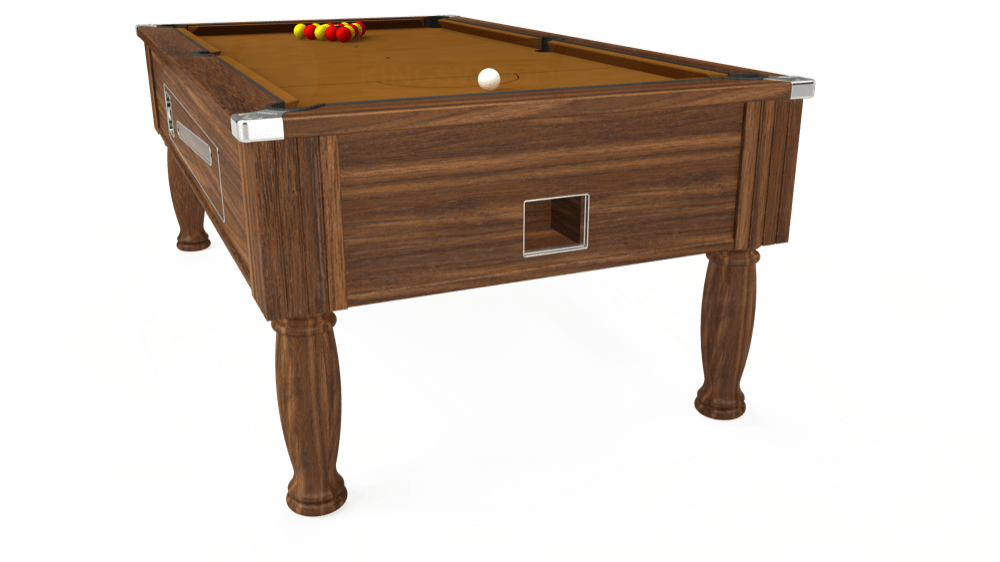 7ft Ascot Coin Operated Pool Table in Dark Walnut with Hainsworth Smart Tan cloth delivered and installed - £1,370.00