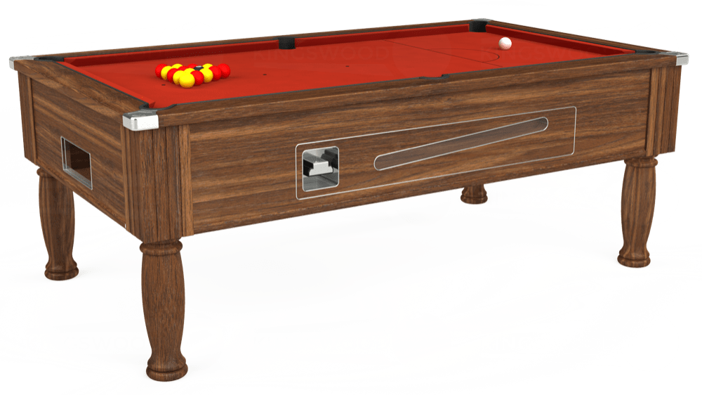 7ft Ascot Coin Operated Pool Table in Dark Walnut with Hainsworth Smart Windsor Red cloth delivered and installed - £1,270.00