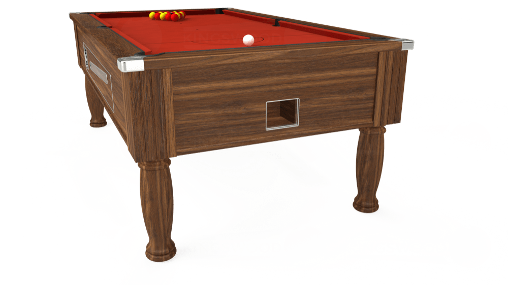 7ft Ascot Coin Operated Pool Table in Dark Walnut with Hainsworth Smart Windsor Red cloth delivered and installed - £1,225.00