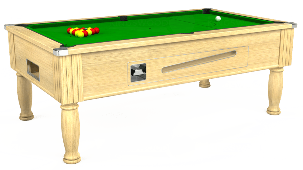 7ft Ascot Coin Operated Pool Table in Light Oak with Standard Green cloth delivered and installed - £1,125.00