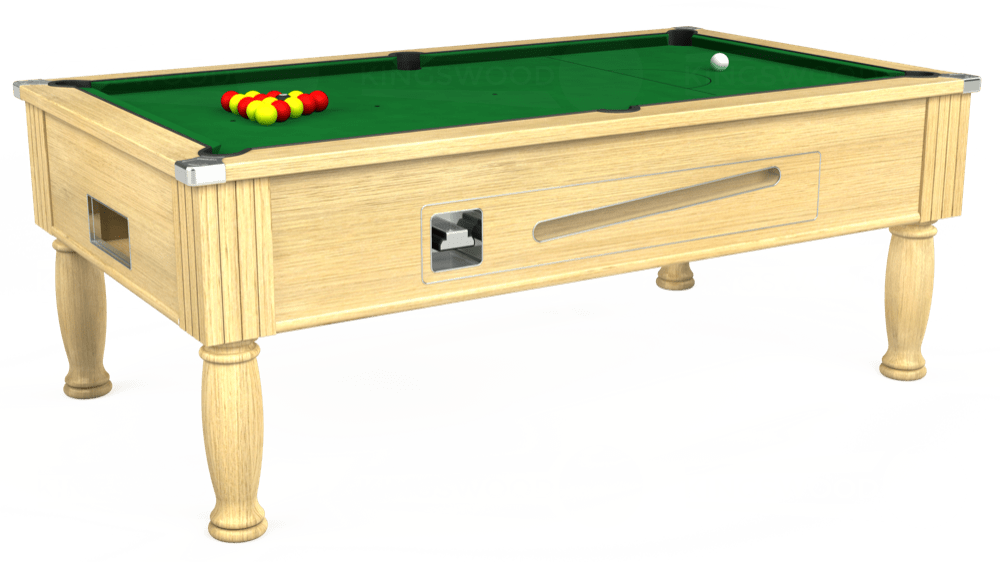 7ft Ascot Coin Operated Pool Table in Light Oak with Hainsworth Elite-Pro English Green cloth delivered and installed - £1,225.00