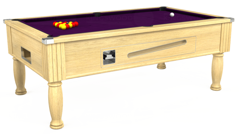 7ft Ascot Coin Operated Pool Table in Light Oak with Hainsworth Smart Purple cloth delivered and installed - £1,300.00
