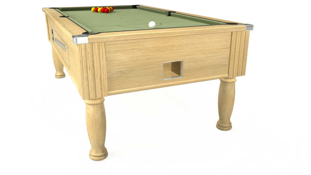 7ft Ascot Coin Operated Pool Table in Light Oak with Hainsworth Smart Sage cloth delivered and installed - £1,300.00