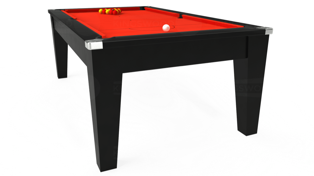 7ft Avant Guarde Pool Dining Table in Black with Hainsworth Elite-Pro Orange cloth delivered and installed - £1,140.00