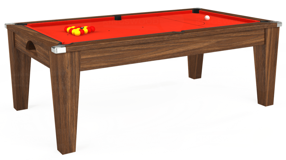 7ft Avant Guarde Pool Dining Table in Dark Walnut with Hainsworth Elite-Pro Orange cloth delivered and installed - £1,140.00