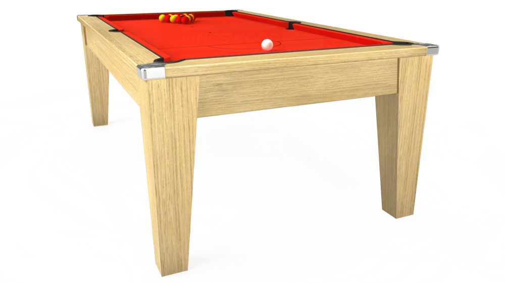 7ft Avant Guarde Pool Dining Table in Light Oak with Hainsworth Elite-Pro Orange cloth delivered and installed - £1,140.00