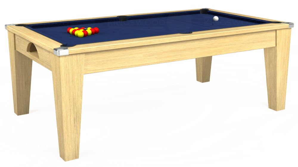 7ft Avant Guarde Pool Dining Table in Light Oak with Hainsworth Smart Royal Navy cloth delivered and installed - £1,140.00