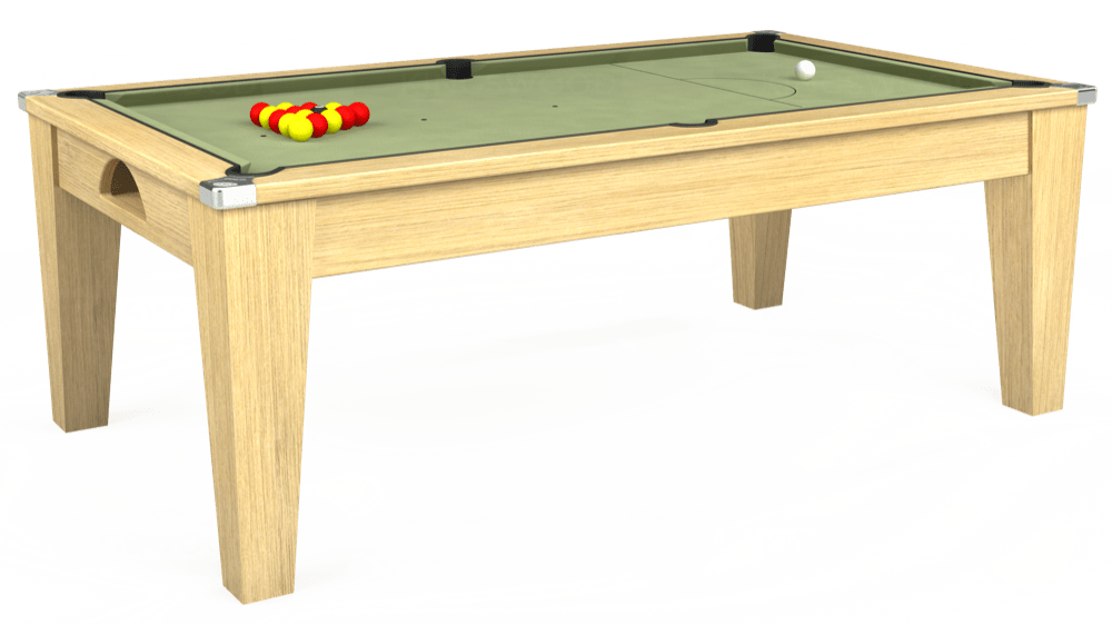 7ft Avant Guarde Pool Dining Table in Light Oak with Hainsworth Smart Sage cloth delivered and installed - £1,140.00