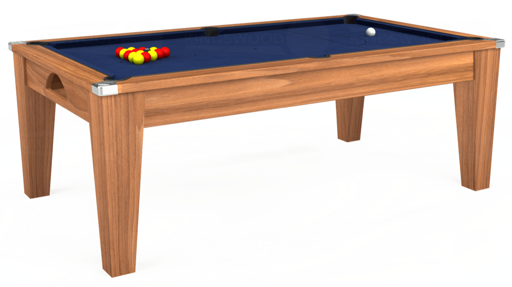 7ft Avant Guarde Pool Dining Table in Light Walnut with Hainsworth Smart Royal Navy cloth delivered and installed - £1,140.00