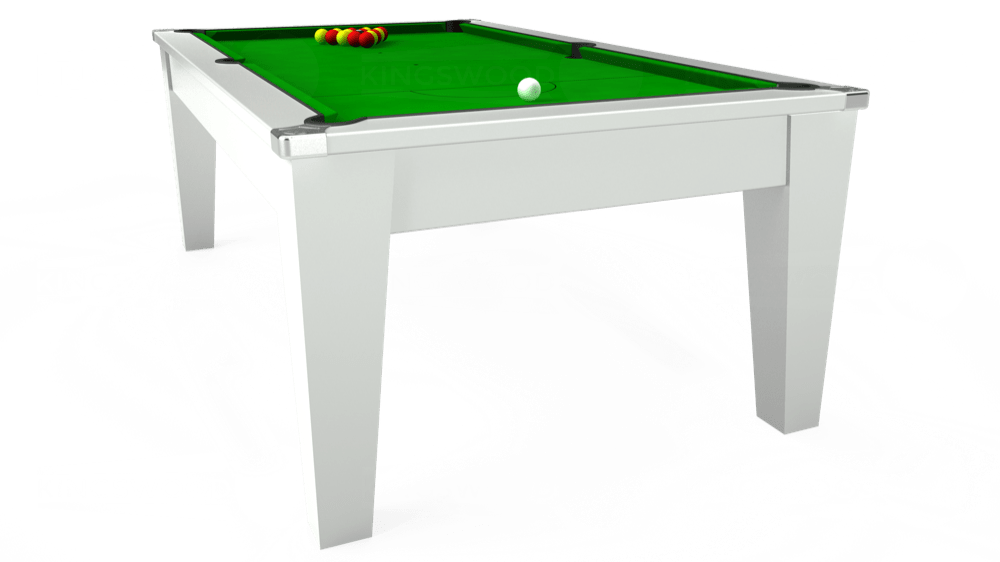 7ft Avant Guarde Pool Dining Table in White with Standard Green cloth delivered and installed - £1,040.00