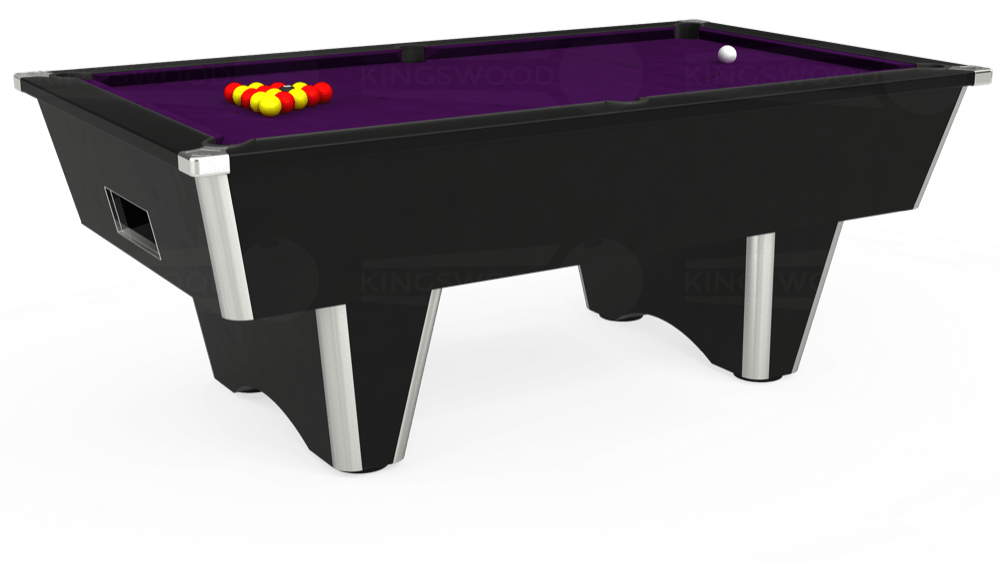 7ft Elite Free Play Pool Table in Black with Hainsworth Elite-Pro Purple cloth delivered and installed - £1,125.00