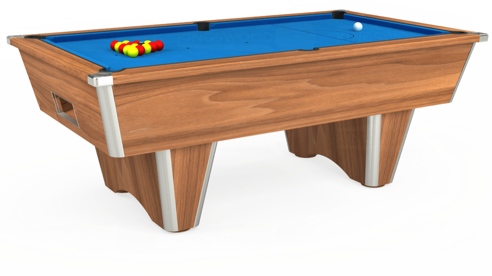 7ft Elite Free Play Pool Table in Light Walnut with Hainsworth Elite-Pro Electric Blue cloth delivered and installed - £1,125.00