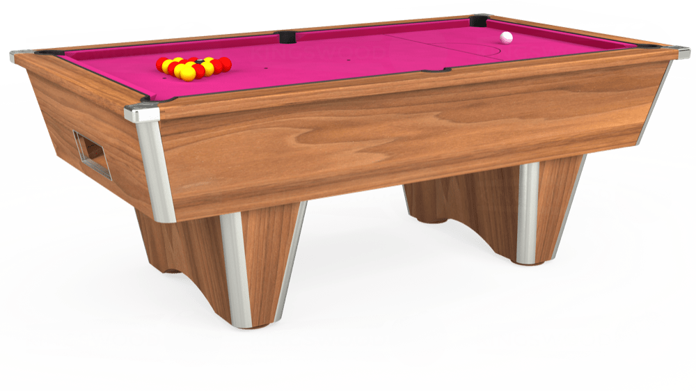 7ft Elite Free Play Pool Table in Light Walnut with Hainsworth Elite-Pro Fuchsia cloth delivered and installed - £1,125.00