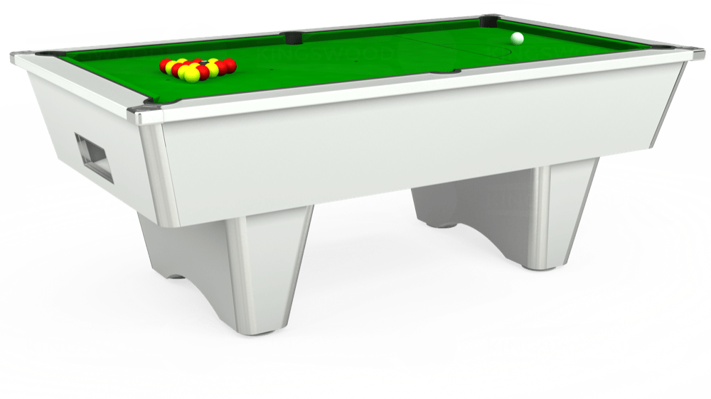 7ft Elite Free Play Pool Table in White with Standard Green cloth delivered and installed - £1,025.00