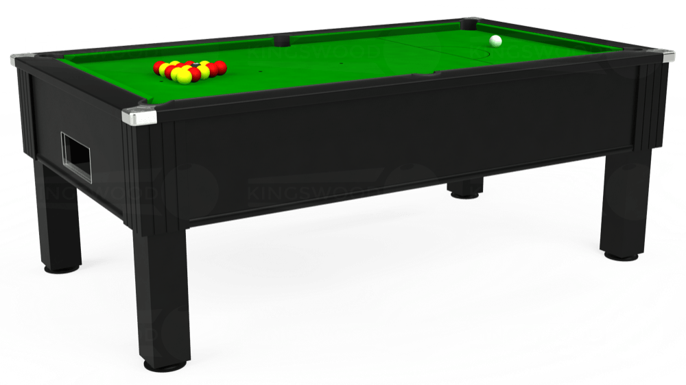 7ft Emirates Free Play Pool Table in Black with Standard Green cloth delivered and installed - £1,050.00