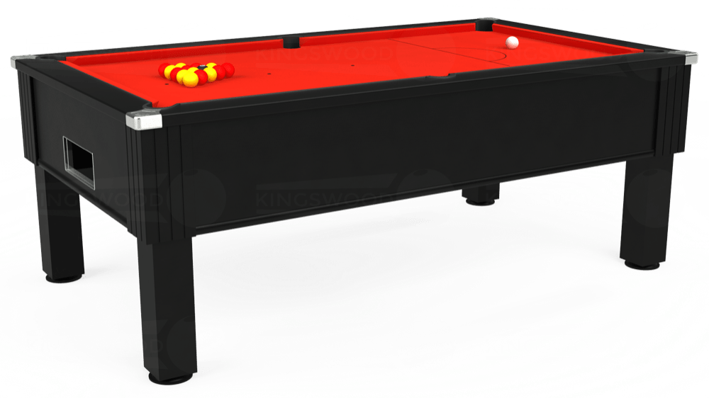 7ft Emirates Free Play Pool Table in Black with Hainsworth Smart Orange cloth delivered and installed - £1,150.00