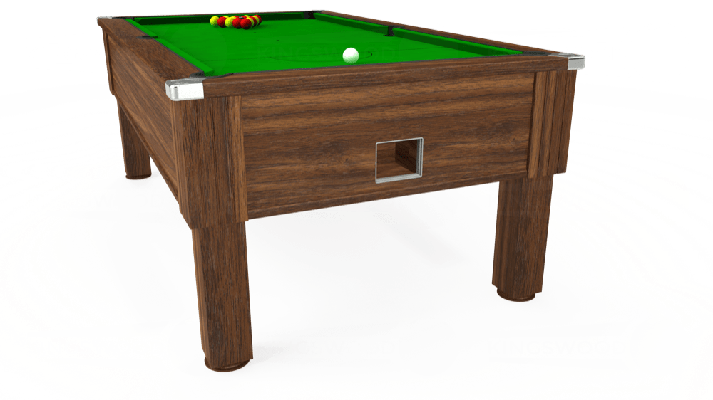 7ft Emirates Free Play Pool Table in Dark Walnut with Standard Green cloth delivered and installed - £1,050.00