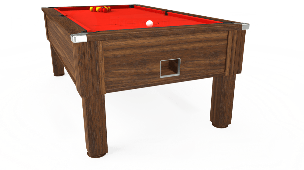 7ft Emirates Free Play Pool Table in Dark Walnut with Hainsworth Smart Orange cloth delivered and installed - £1,150.00