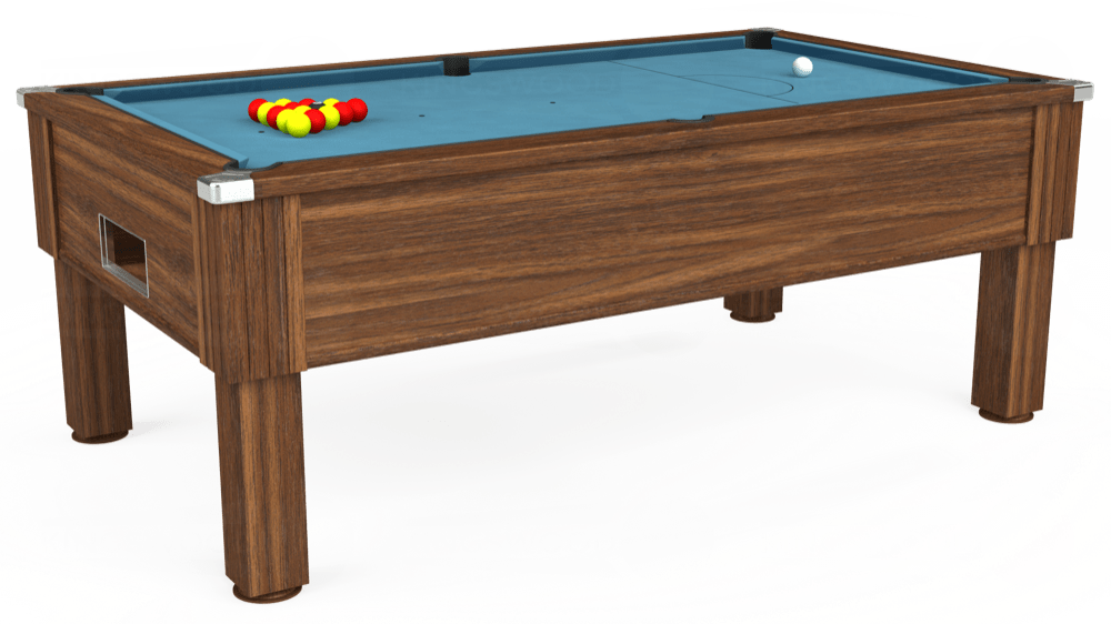 7ft Emirates Free Play Pool Table in Dark Walnut with Hainsworth Smart Powder Blue cloth delivered and installed - £1,150.00