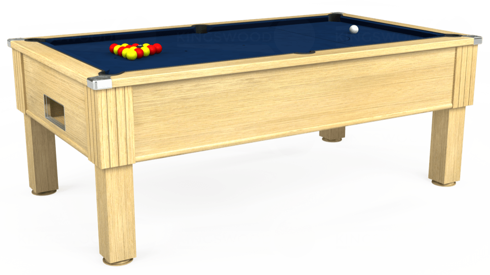 7ft Emirates Free Play Pool Table in Light Oak with Hainsworth Elite-Pro Marine Blue cloth delivered and installed - £1,150.00