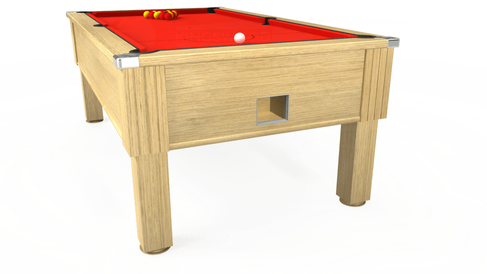 7ft Emirates Free Play Pool Table in Light Oak with Hainsworth Smart Orange cloth delivered and installed - £1,150.00