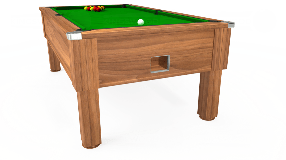 7ft Emirates Free Play Pool Table in Light Walnut with Standard Green cloth delivered and installed - £1,050.00