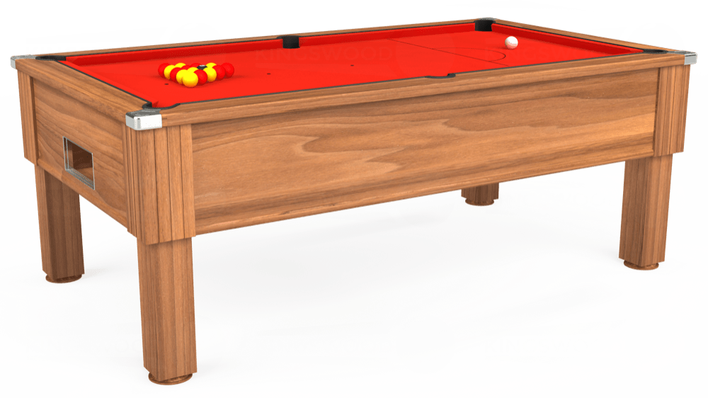 7ft Emirates Free Play Pool Table in Light Walnut with Hainsworth Smart Orange cloth delivered and installed - £1,150.00