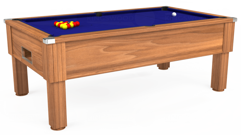 7ft Emirates Free Play Pool Table in Light Walnut with Hainsworth Smart Royal Blue cloth delivered and installed - £1,150.00