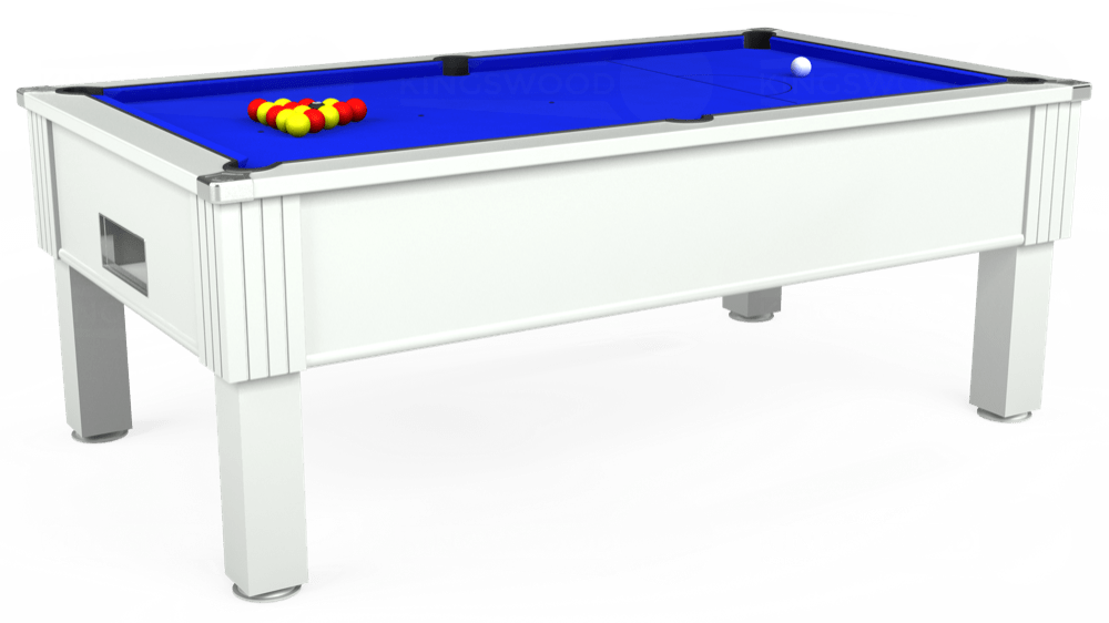 7ft Emirates Free Play Pool Table in White with Standard Blue cloth delivered and installed - £1,050.00