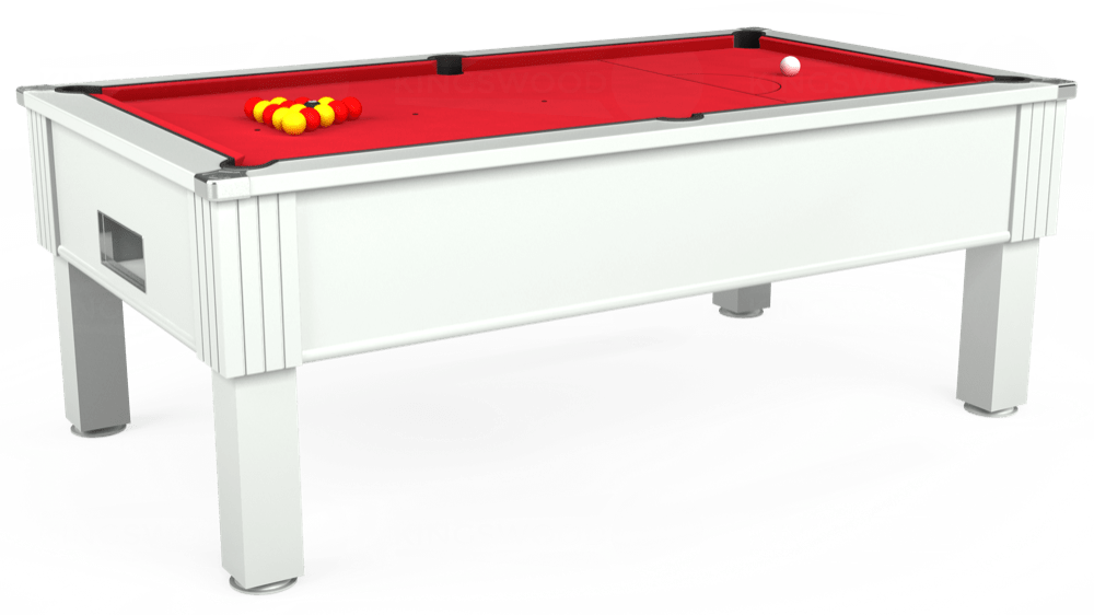 7ft Emirates Free Play Pool Table in White with Standard Red cloth delivered and installed - £1,050.00