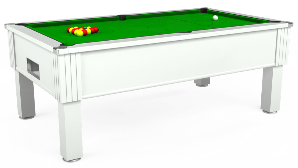 7ft Emirates Free Play Pool Table in White with Standard Green cloth delivered and installed - £1,050.00